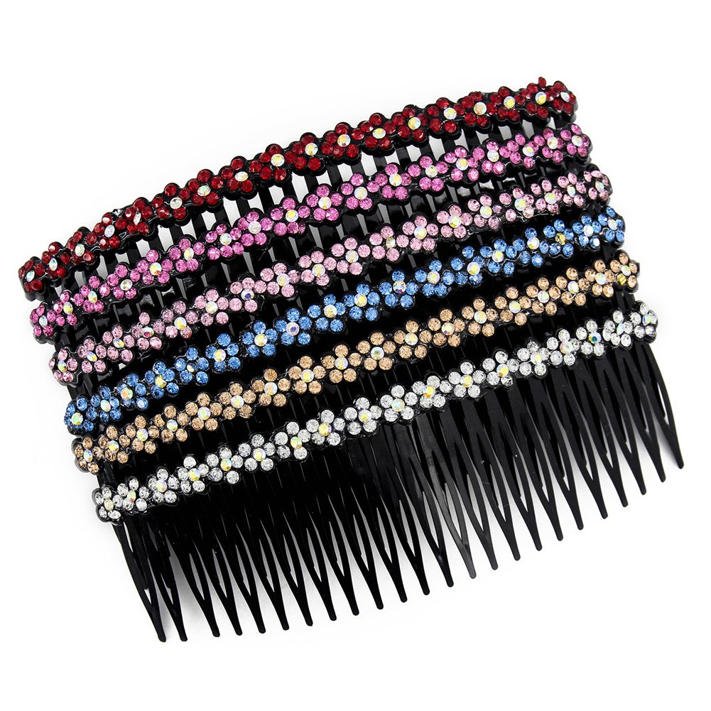 Yeshan 20 teeth Plastic Comb Hair Clip Rhinestone Hair Side Comb Wedding Bridal Hair Accessories for Women and Girls, 4 inch(Mix 6 colors) CSZ