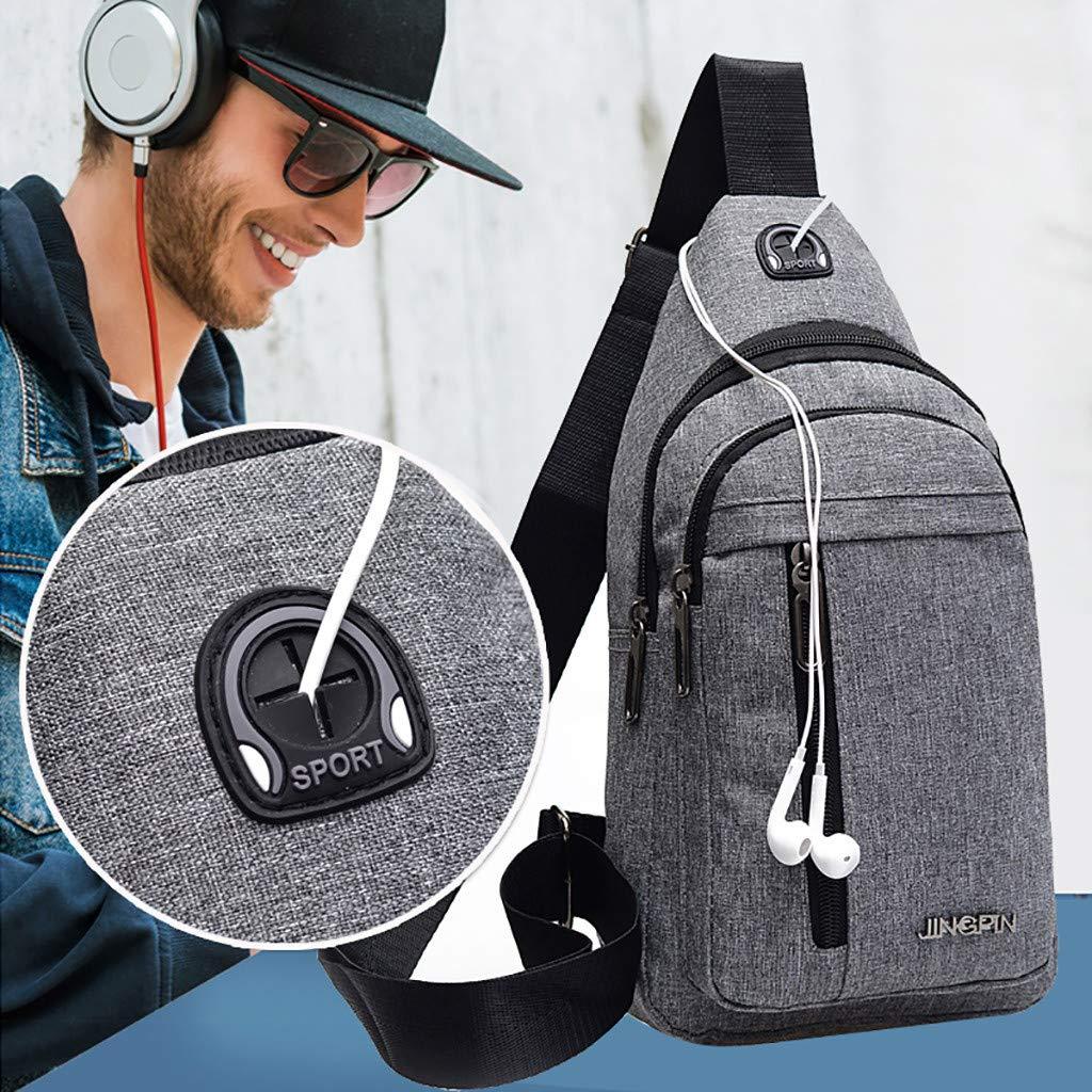 Shoulder Bag,Longay Men Small Bag Wild Messenger Bag Fashion One Shoulder Plaid Chest Bag (Black)