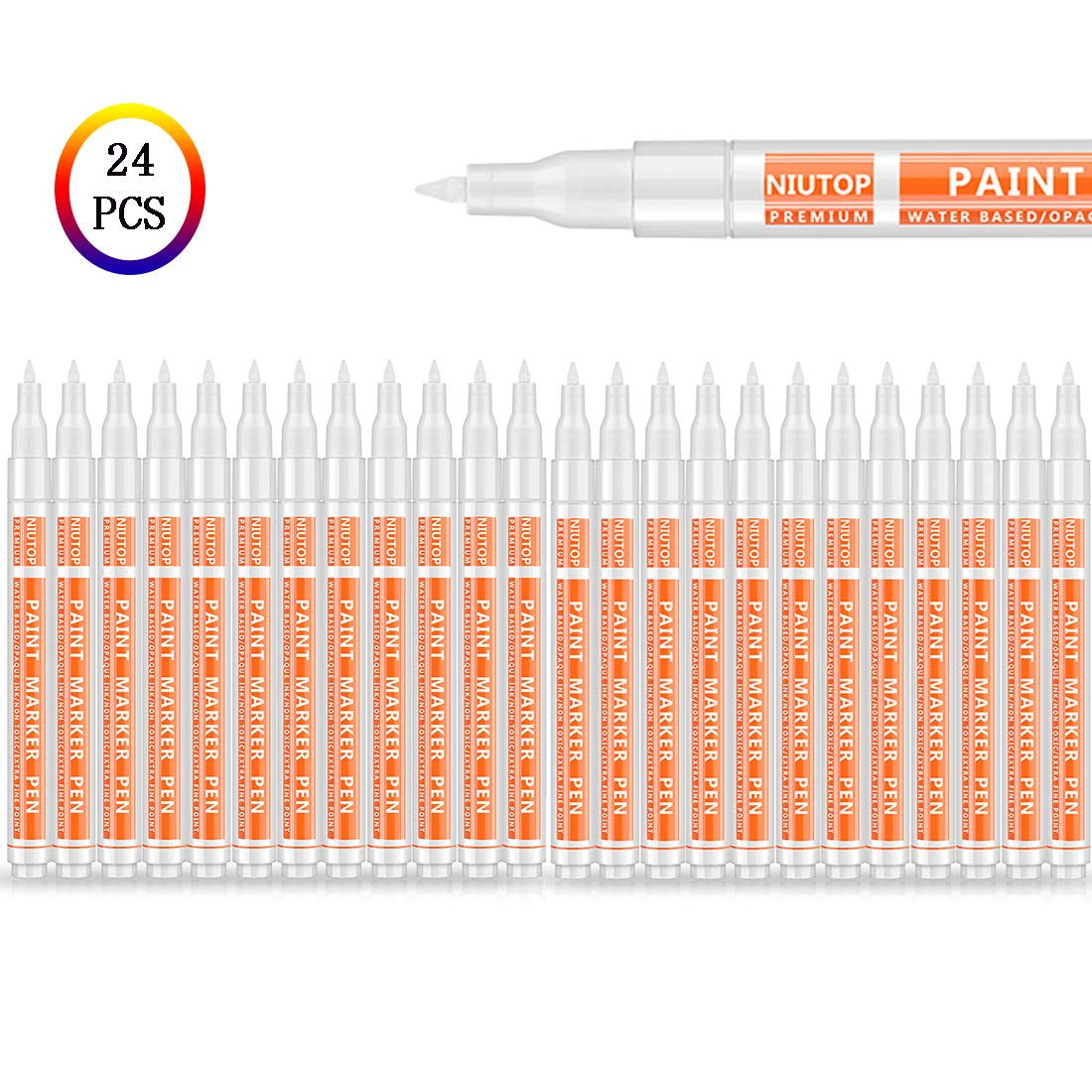 24 Pack White Paint Pen for Rock Painting, Acrylic White Paint Marker Pens Kit for Glass, Wood, Stone, Plastic, Metal, Ceramic & More, Extra Fine Tip, Water Based, Acid Free Non Toxic, Quick-Dry by Niutop