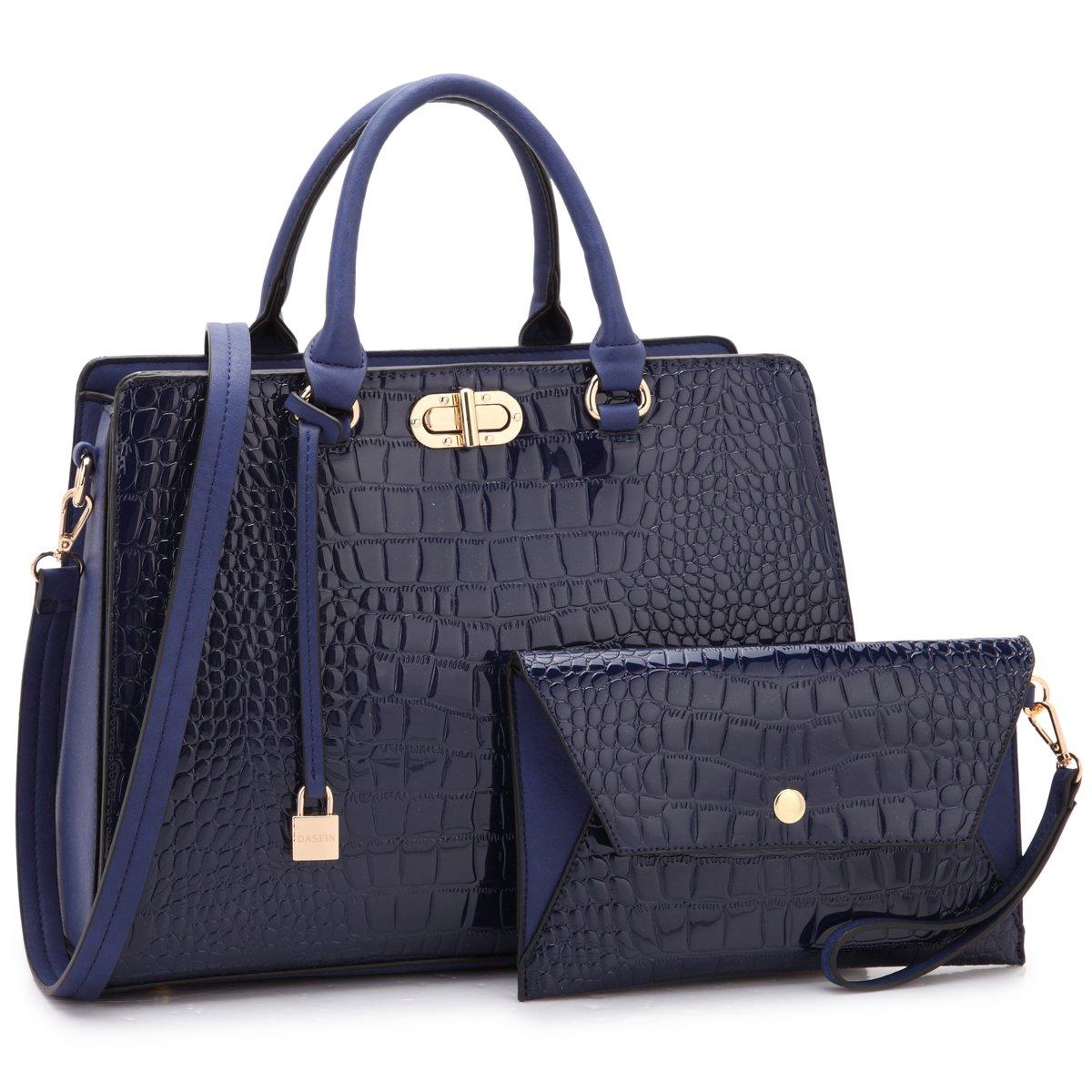 Croco Leatherbluee 1988 MMK Collection Women's Satchel Handbag Vegan Leather Medium SizeDesigner Handbags for Women