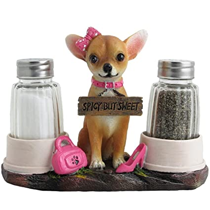 Pretty In Pink Girl Chihuahua Glass Salt And Pepper Shaker Set With Holder  Figurine In Dog