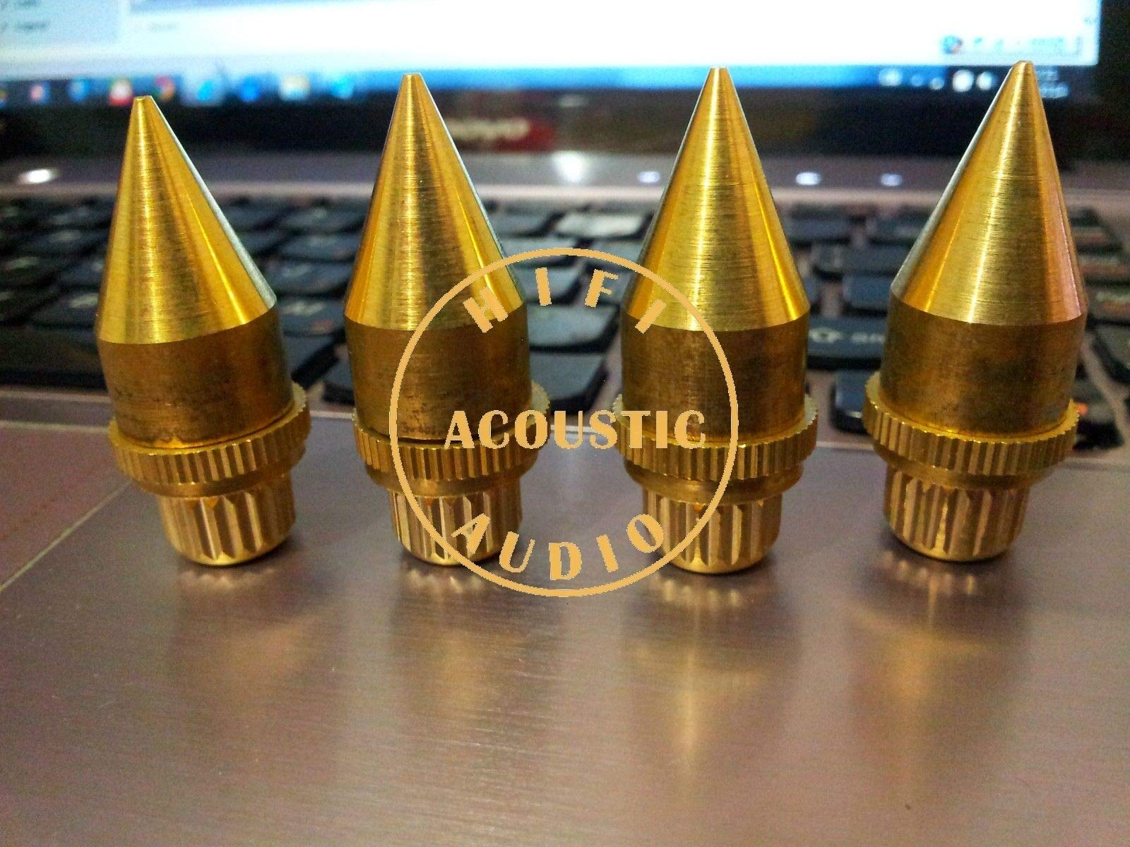 FidgetKute 4X HiFi 40x15mm Speaker Spikes Spike Stand Feet Base Solid Brass 12mm nut