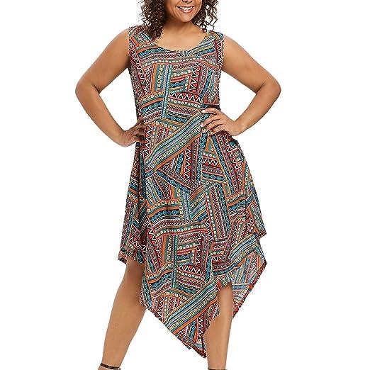 Amazon.com: Goddessvan Women\'s Plus Size Scarf-Print Maxi Dress with ...