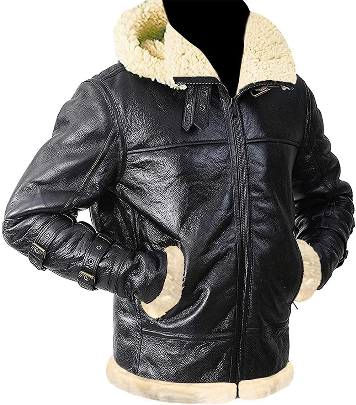Aviator Mens B3 Bomber Shearling Winter Hooded Leather Jacket