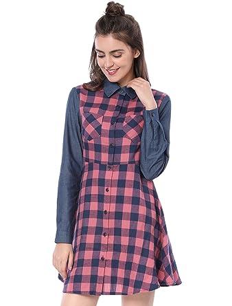 b577179f44 Allegra K Women s Long Sleeve Checked Button Shirt Plaid A-line Dress Pink  XS
