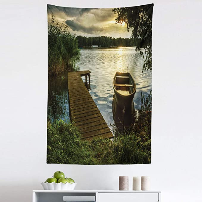 Amazon Com Lunarable Seascape Tapestry Boat At Lake Shore Wooden Pier Sunset Sunbeams Romantic Evening Fabric Wall Hanging Decor For Bedroom Living Room Dorm 30 X 45 Green Yellow Home Kitchen