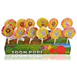 Toonpops - Assorted Fruity Flavoured Cartoon Candy Swirl Lollipop, 2.25 inch round, 300 g (Pack Of 12 pcs)