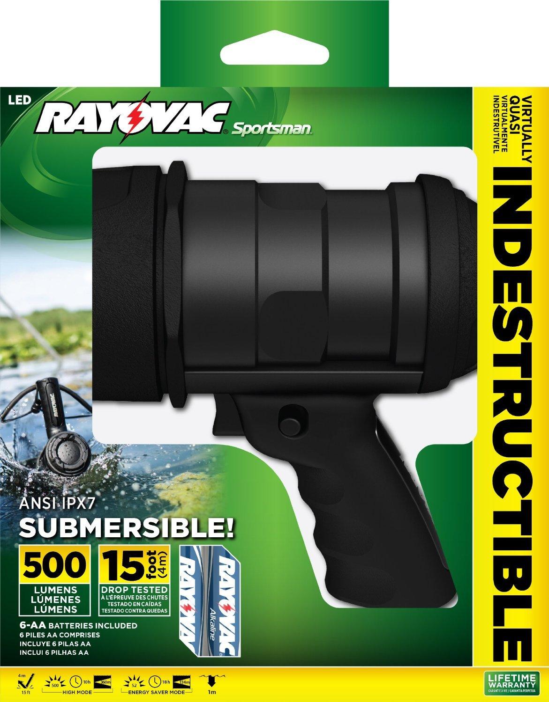 Rayovac Sportsman Virtually Indestructible 500 Lumen 6AA LED Spotlight with Batteries (OT6AASP-B) by Rayovac