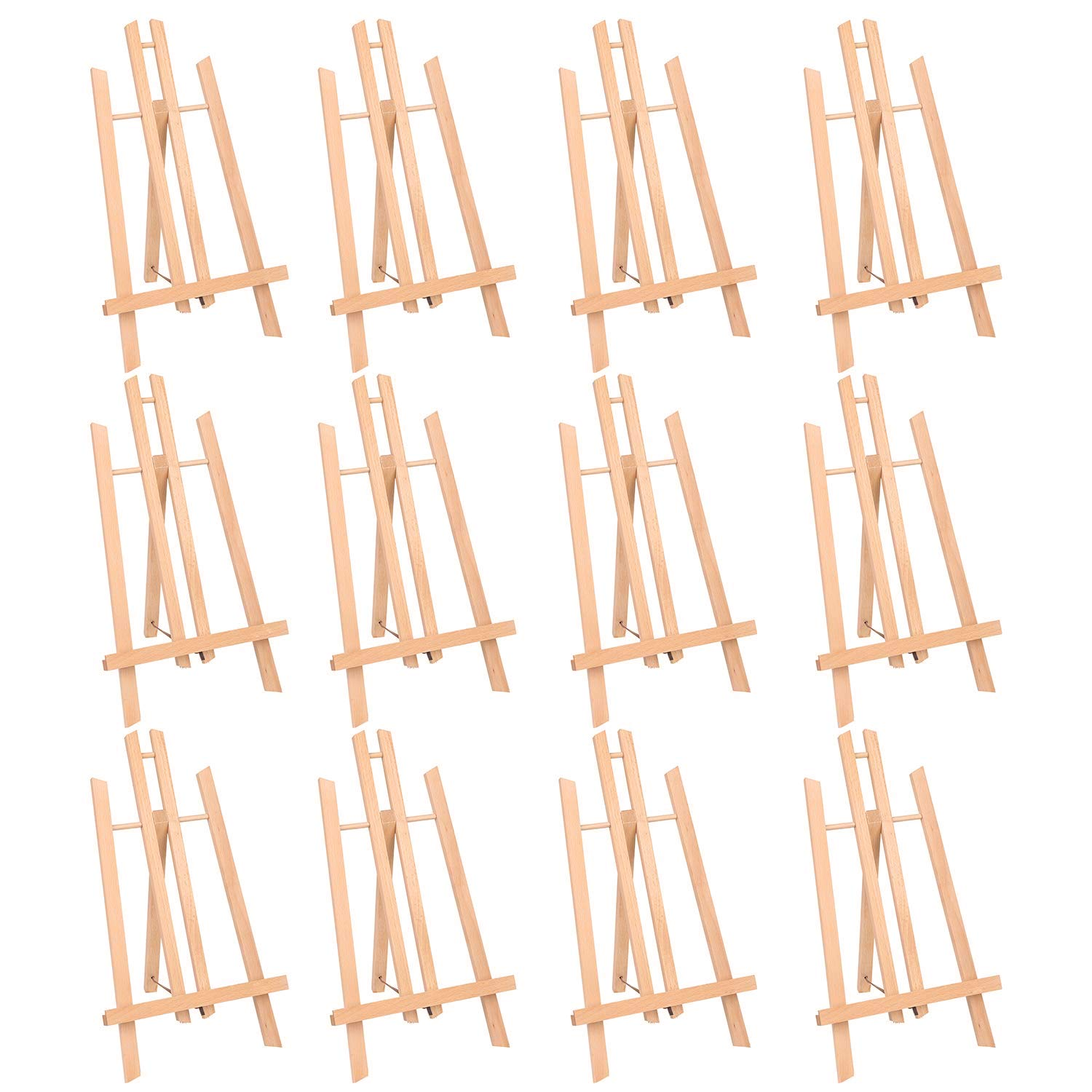 MEEDEN 15.7'' Tall Tabletop Easel - Medium Tabletop Display Wood Easel, for Kids Artist Adults Students Classroom/Parties Painting Display, Standing Easel, Pack of 12