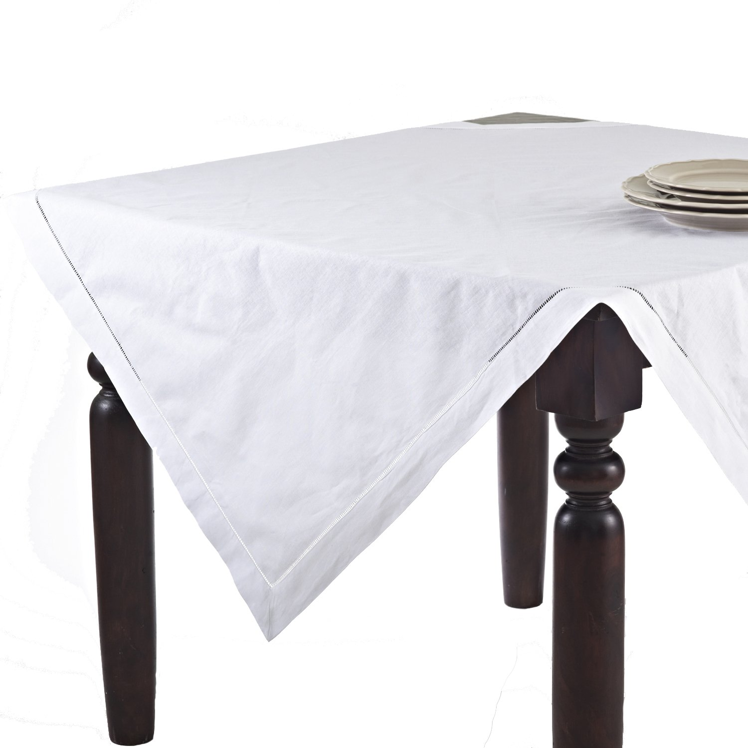 16 x 120, SARO LIFESTYLE 6100 Handmade Classic Hemstitched Design Table Runner 16x120 Oblong White