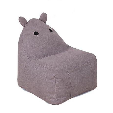 Childrens Plush Chair Hippo Kids Stuffed Animal Storage Bean Bag Little  Reader Chair (Brown,