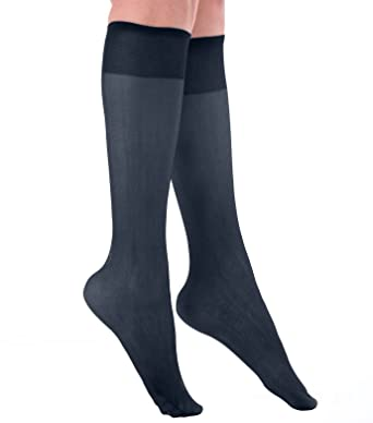 7cd75290a Grandeur Hosiery Women s Ladies Plus Size Queen Sheer Support Knee High  Stockings 3-Pack Navy