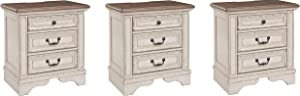 Signature Design by Ashley Realyn Nightstand, Chipped White (Pack of 3)