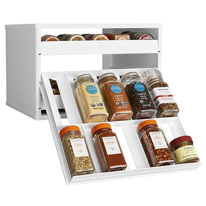 YouCopia Chef's Edition SpiceStack 30-Bottle Spice Organizer with Universal Drawers, White