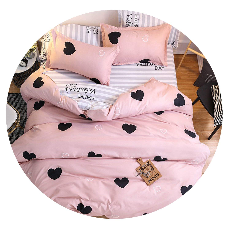 15 Full Cartoon Pink Flamingoding Sets 3 4pcs Geometric Pattern Duvet Cover Sheet Pillowcases,17,Twin 3pcs