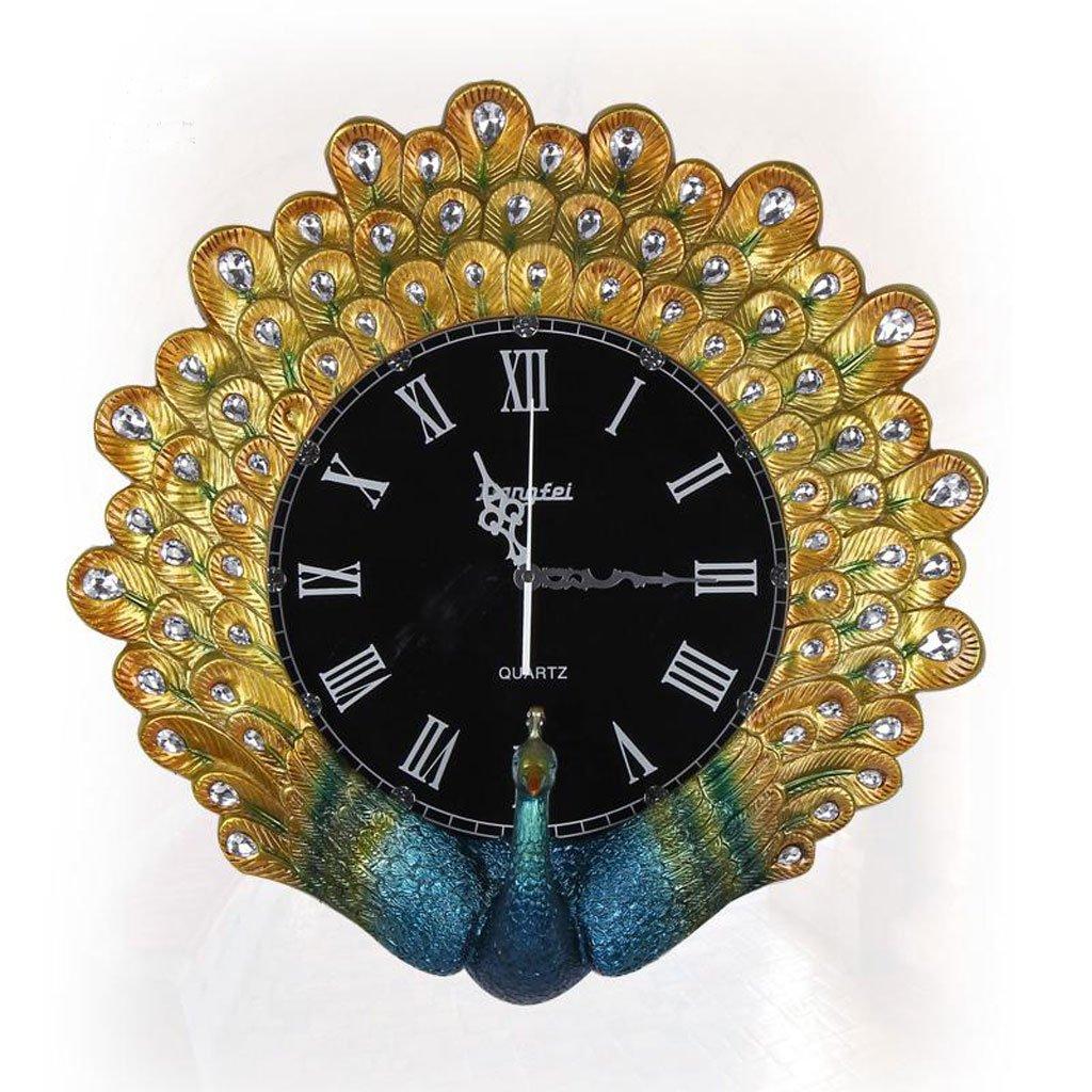 ヨーロッパスタイルの時計と時計クリエイティブな孔雀の壁時計ファッションリビングルーム大きな時計創造的なダイヤモンドの壁時計ミュートの壁時計 (Color : Gold) B07D5QF1C7 Gold Gold
