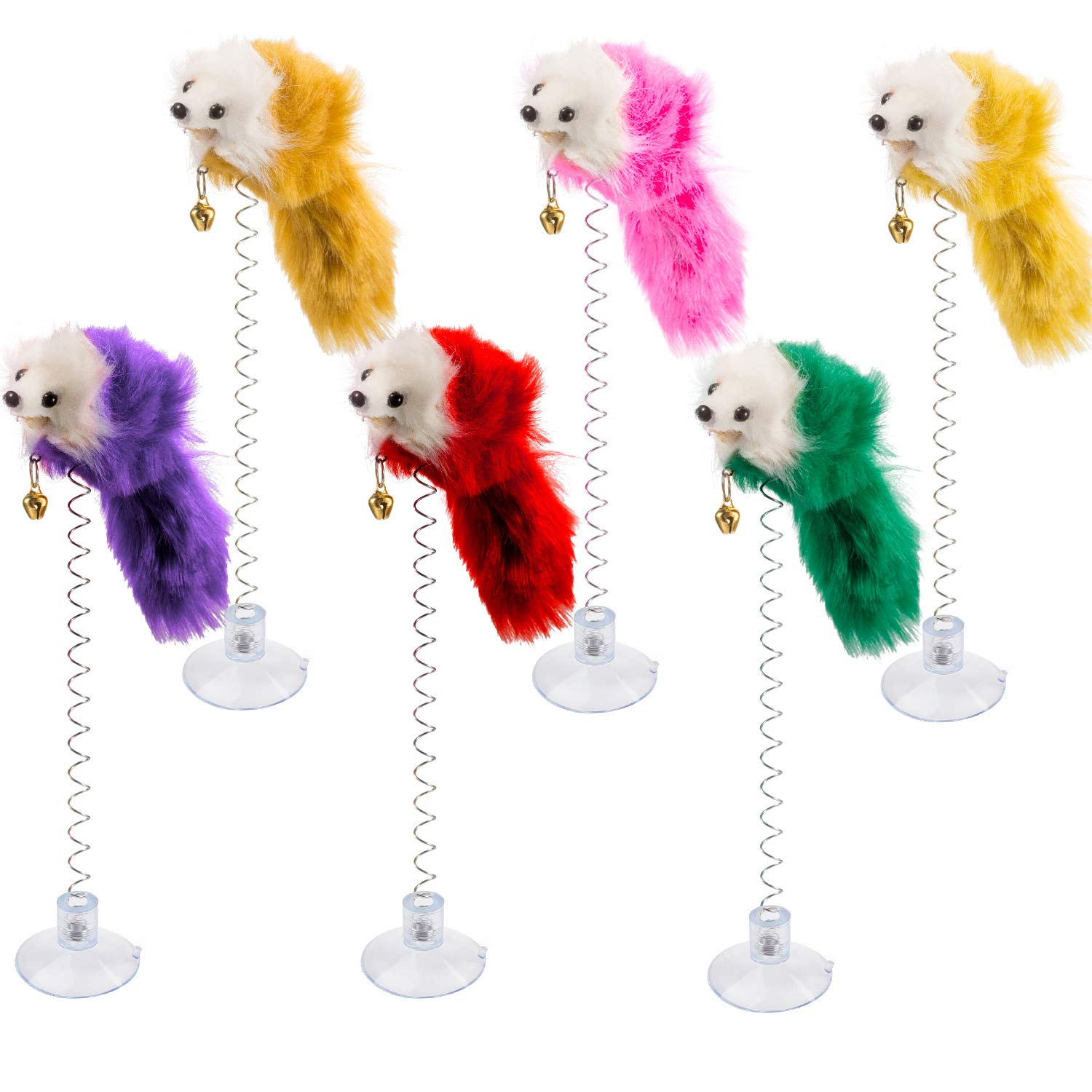 6 Pieces Cat Toys, Mouse Toys for Cats, Furry Pet Cat Toys, Cat Teaser Wand with Bell Tatuo