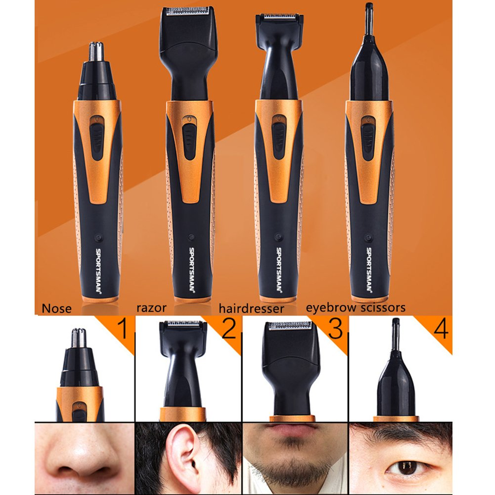 Nose Hair Trimmer [4-in-1] Grooming Kit 360 Degree Nose Ear Beard Sideburn Eyebrow Underarms Hair Trimmer Electric Shaver with Wet Dry&Vacuum Cleaning System-USB Charging by YIHW (blue) YJHW