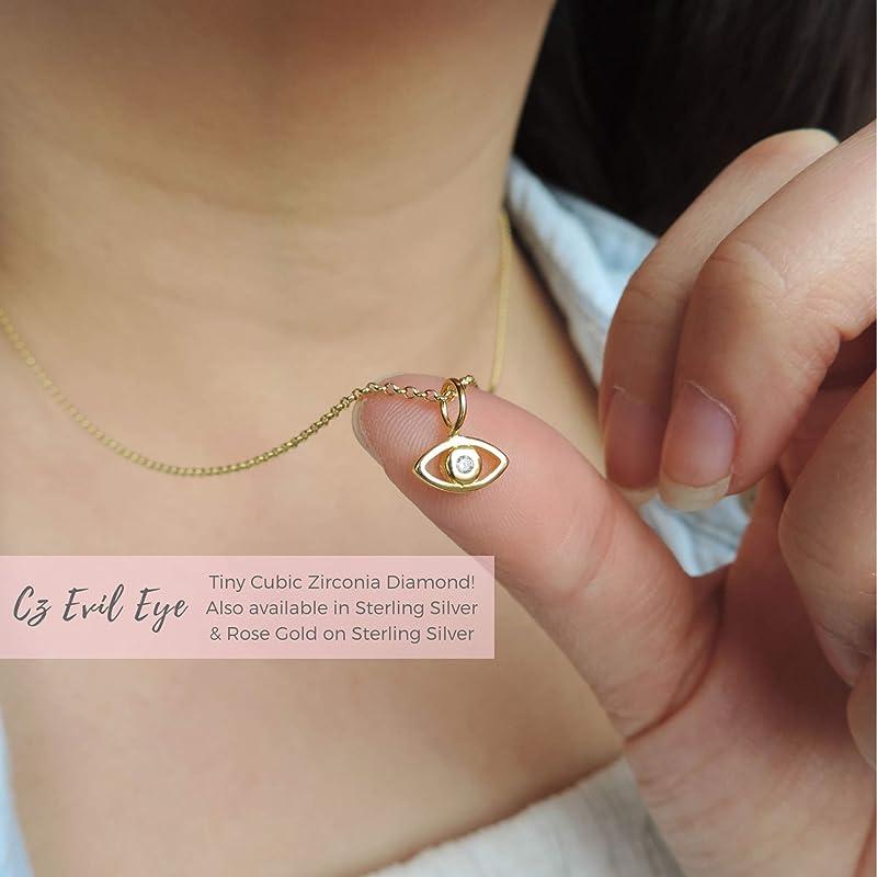 Evil Eye Necklace Evil Eye Jewelry Layering Necklace Minimalist Necklace Dainty Necklace Protection Necklace Evil Eye Charm Necklace
