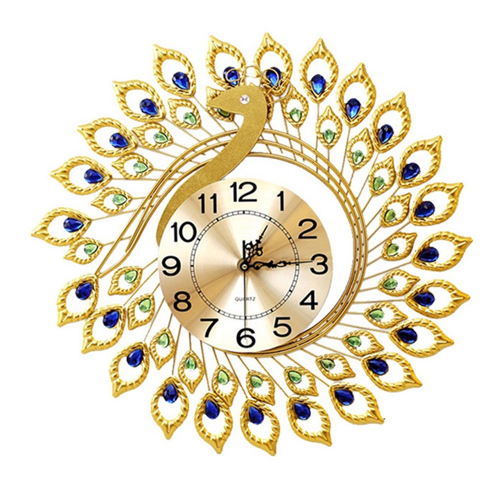 YFF-壁時計 ヨーロッパのクリエイティブレトロピーコックの壁時計大きなリビングルームヨーロッパのファッション時計と時計現代ミニマルミュートクォーツ時計 (サイズ さいず : 58センチメートル) B07CWL5JFG58センチメートル