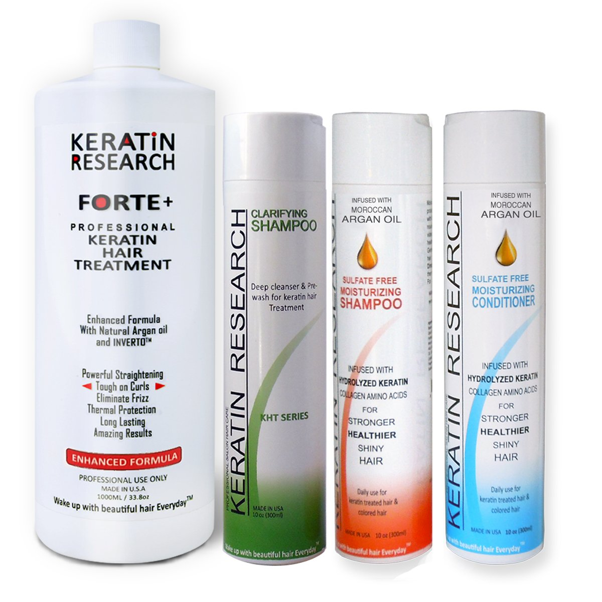 Keratin Forte Plus, Extra Strength Hair Treatment 4 Bottles 1000ml Kit by Keratin Research (Image #1)