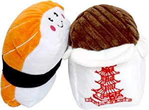 ZippyPaws Dog Toys Sushi and Takeout With Squeakers (Bundle of 2 Toys)