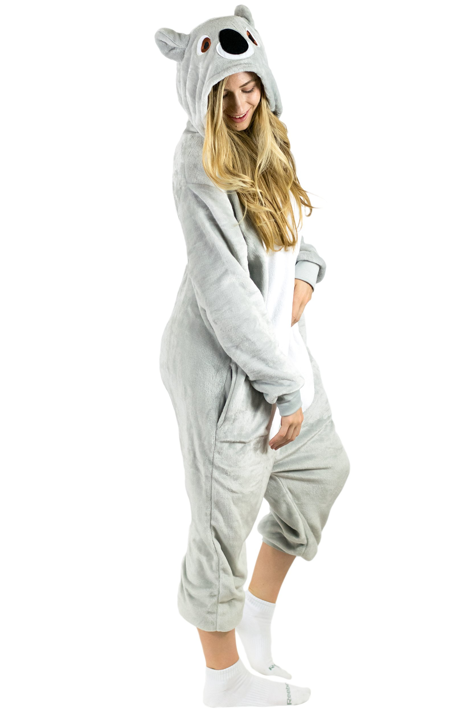 Adult Onesie Koala Animal Pajamas Comfortable Costume with Zipper and Pockets (Large)