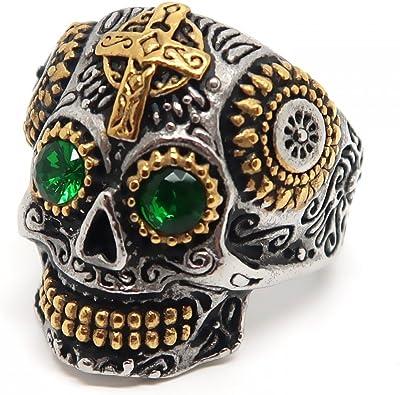 BOBIJOO Jewelry Bague Chevali/ère Homme T/ête de Mort Biker Maya Dor/ée Croix Acier Or Argent/é Vert