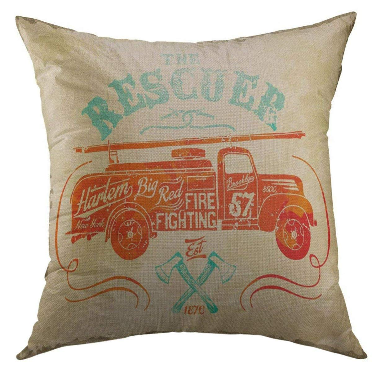 Mugod Decorative Throw Pillow Cover for Couch Sofa,Red Fireman Vintage Fire Fighting Label Black Firefighter Fighter Home Decor Pillow Case 18x18 Inch