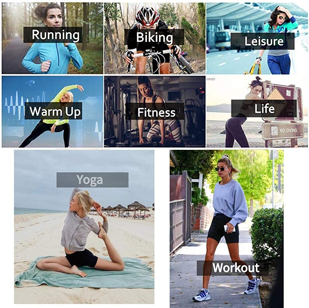 Yexinbridal Womens High Waist Yoga Short Pants Tummy Control Gym Workout Running Athletic Shorts with Side Pockets