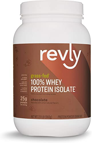Amazon Brand – Revly 100 Grass-Fed Whey Protein Isolate Powder, Chocolate, 2.11 lbs, 30 Servings, Gluten Free, Non-GMO, No added rbgh rbst
