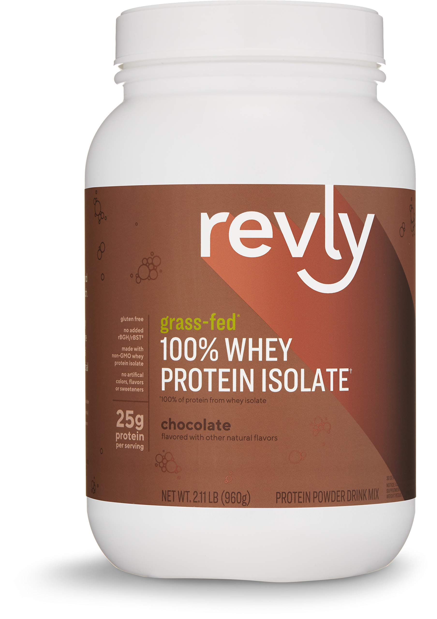 Amazon Brand - Revly 100% Grass-Fed Whey Protein Isolate Powder, Chocolate, 2.11 lbs, 30 Servings, Gluten Free, Non-GMO, No added rbgh/rbst‡ by Revly