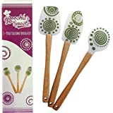 Boochie's Sweets 3-Piece Silicone Spatula Set with Beechwood Handles
