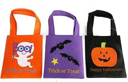 Pack de 3 bolsas de fieltro para dulces de Halloween o para dulces ...