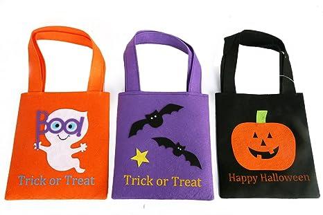 Pack de 3 bolsas de fieltro para dulces de Halloween o para ...