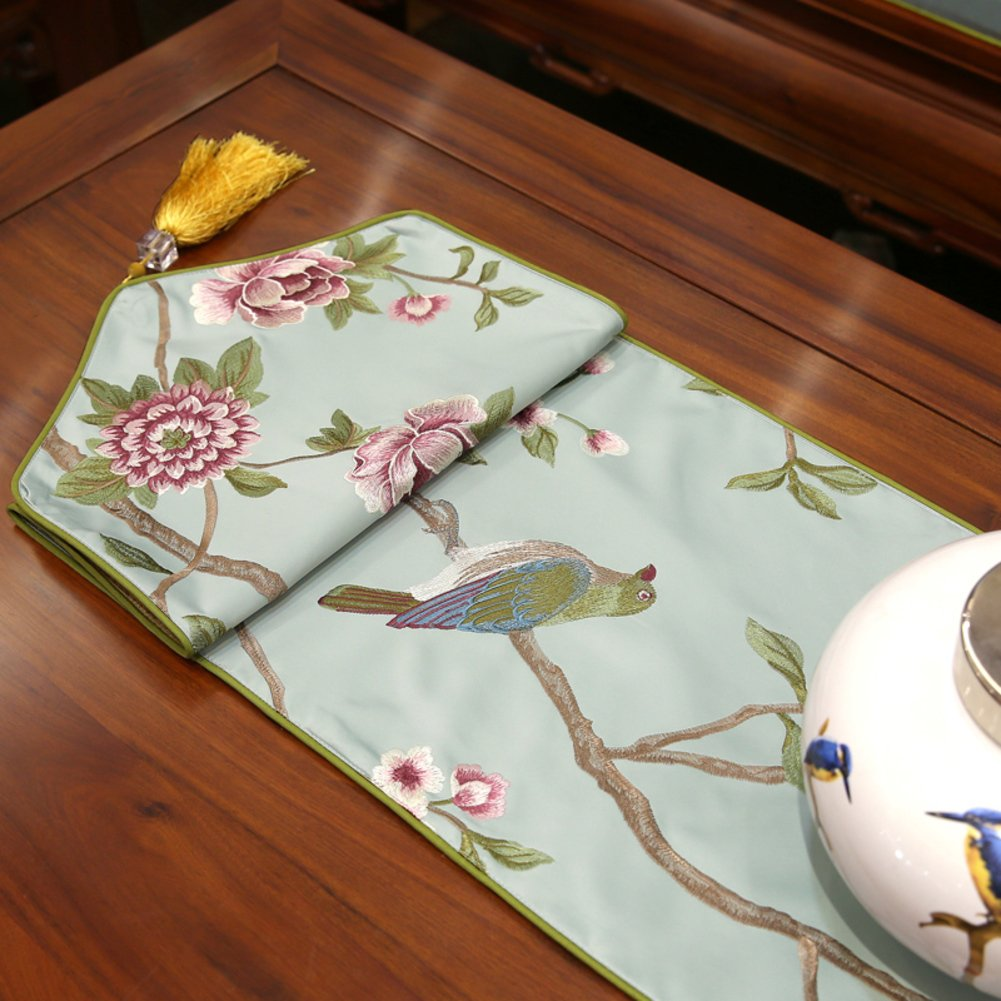 A 210x33cm(83x13inch) DHSNJKL Table runner flower embroidery table flag bed runner tea table cloth xuan guan tv cabinet decorationF 180x33cm(71x13inch)