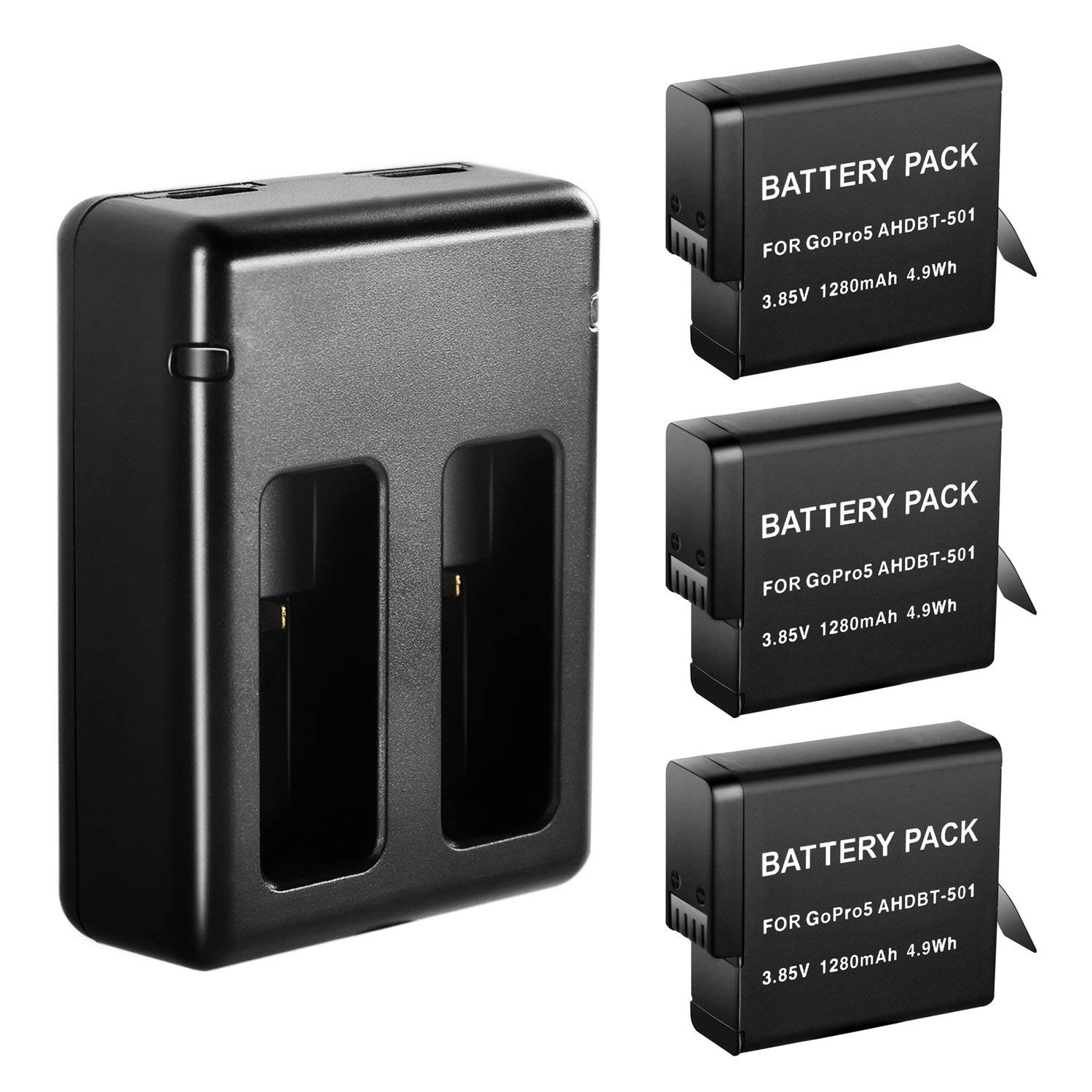 Happyjoy 3-Pack 1280mAh Replacement Battery and Dual Charger for GoPro Hero 5 Hero5 Black