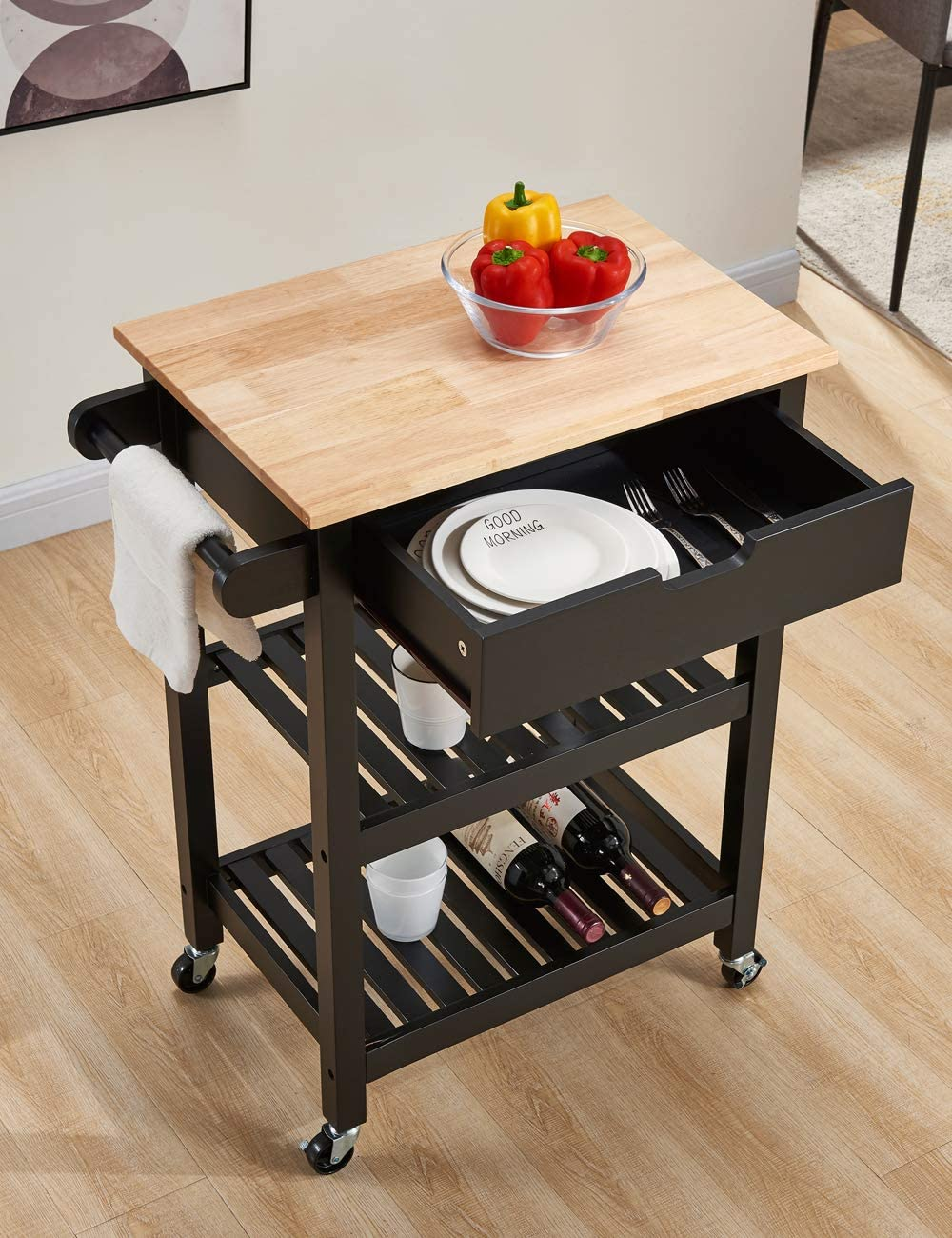 Linio-home Microwave Carts Kitchen Carts with Storage and Drawers, Rolling Island for Kitchen, Small Kitchen Island on Wheels, Black