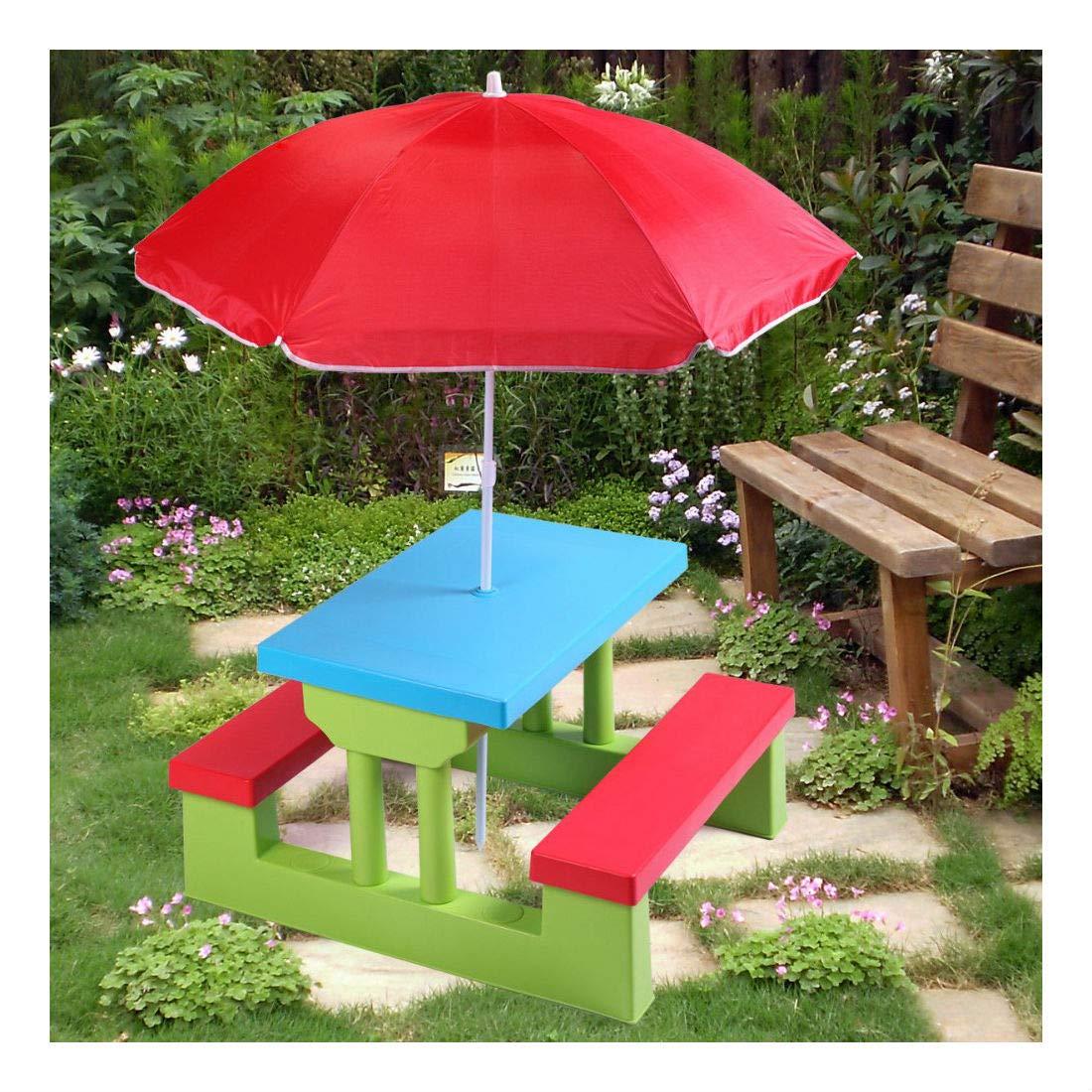 4 Seat Kids Picnic Table w/Umbrella Garden Yard Folding Bench Children Outdoor