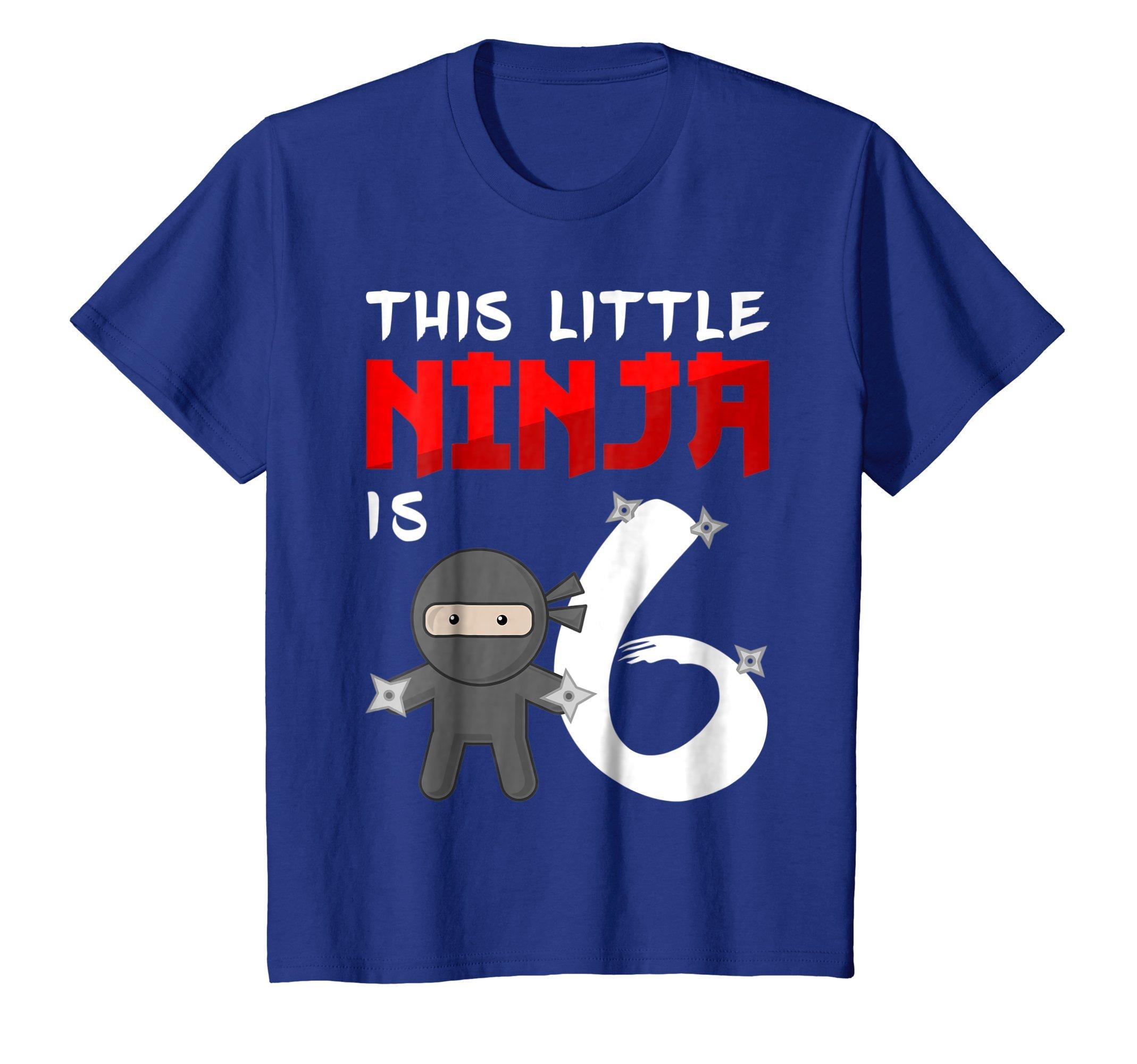 Kids Ninja Birthday Shirt 6 Year Old 6th Birthday Party Girl Boy 8 Royal Blue