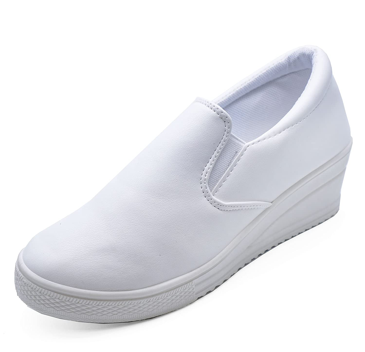 look out for order online fashion style Ladies White Slip-On Comfy Wedge Ankle Boots Trainers Casual Shoes Pumps  Sizes 3-8