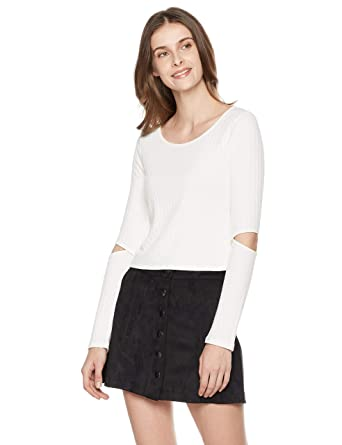 c061698288b Amazon.com: Painted Heart Women's Long Sleeve Elbow Cutout Rib Crop Top:  Clothing