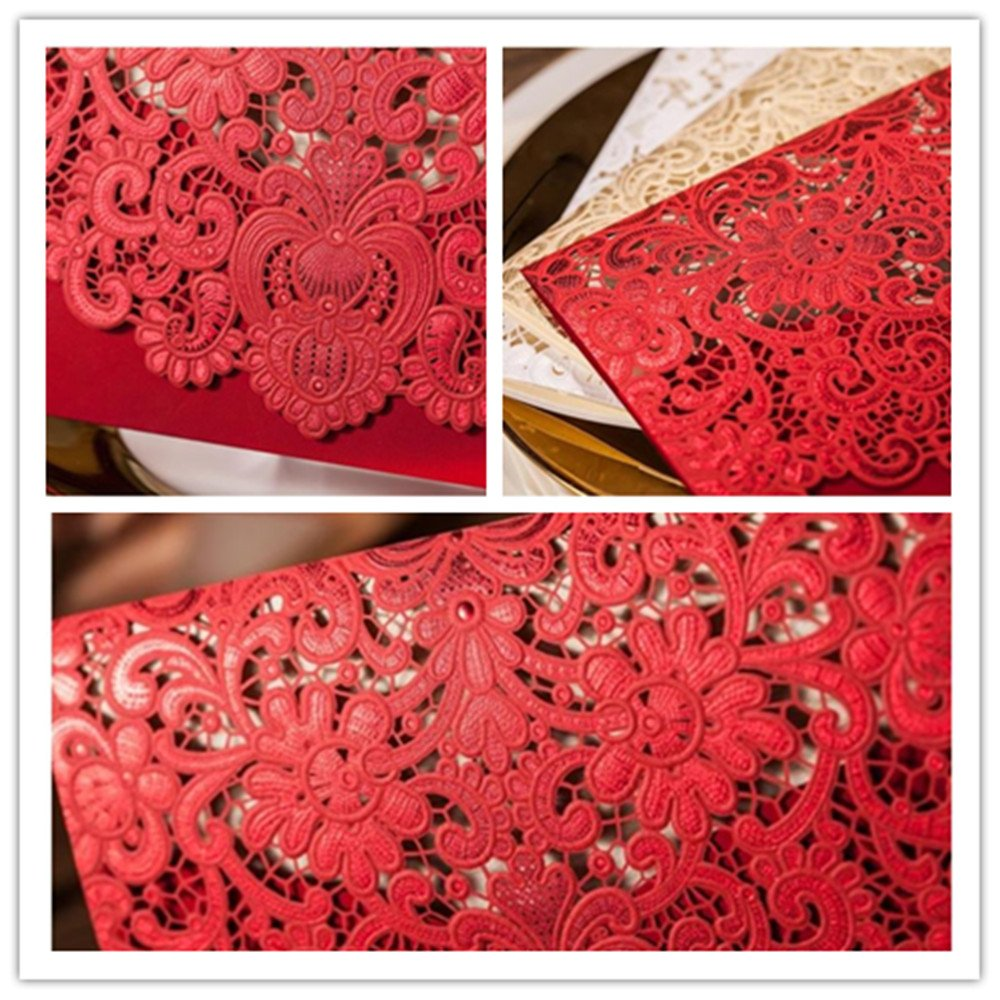 Amazon.com: Graces Dawn 50pcs Red Lace hollow wedding invitation and ...