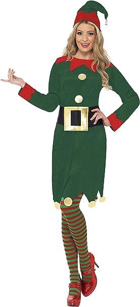 Smiffys-31995L Elf Disfraz de elfa, con Vestido, Gorro y cinturón ...