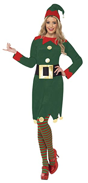 Smiffys-31995M Disfraz de elfa, con Vestido, Gorro y cinturón, Color Verde, M-EU Tamaño 40-42 (SmiffyS 31995M)
