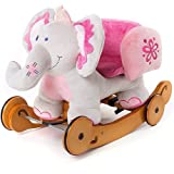 Labebe Modern Plush Rocking Horse for Little Toddlers Kids Baby Boys & Girls (6-36 Months), Indoor Rocking Animal/Ride-On Toys/Rockers with Wheels and Sound Paper- Cute Stuffed Pink Elephant