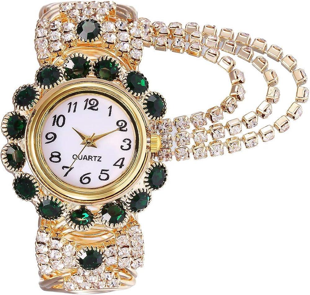 Reloj de pulsera ROVNKD✿ de aleación con anillos de cuarzo y correa modelo Kh080