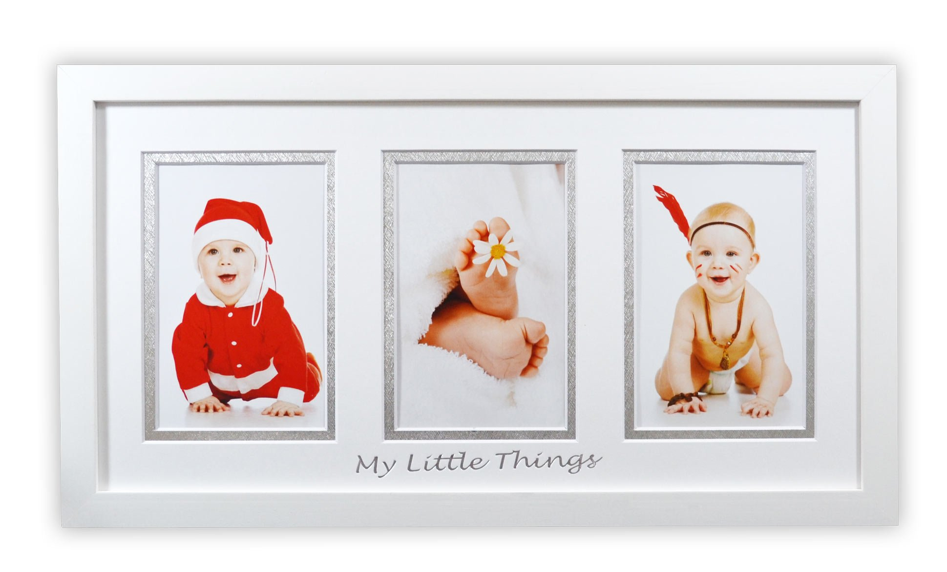 Golden State Art Baby Frames Collection, 8.5x16.3-inch Photo Wood Frame with White/Silver Double Mat for 3 4x6-inch Pictures, White by Golden State Art (Image #1)