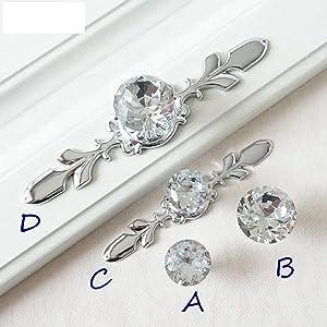 Drawer Knobs Handles Glass Dresser Knob Crystal Silver Chrome Clear Cabinet Pulls Handle Backplate Bling Furniture Cabinet Hardware (D)