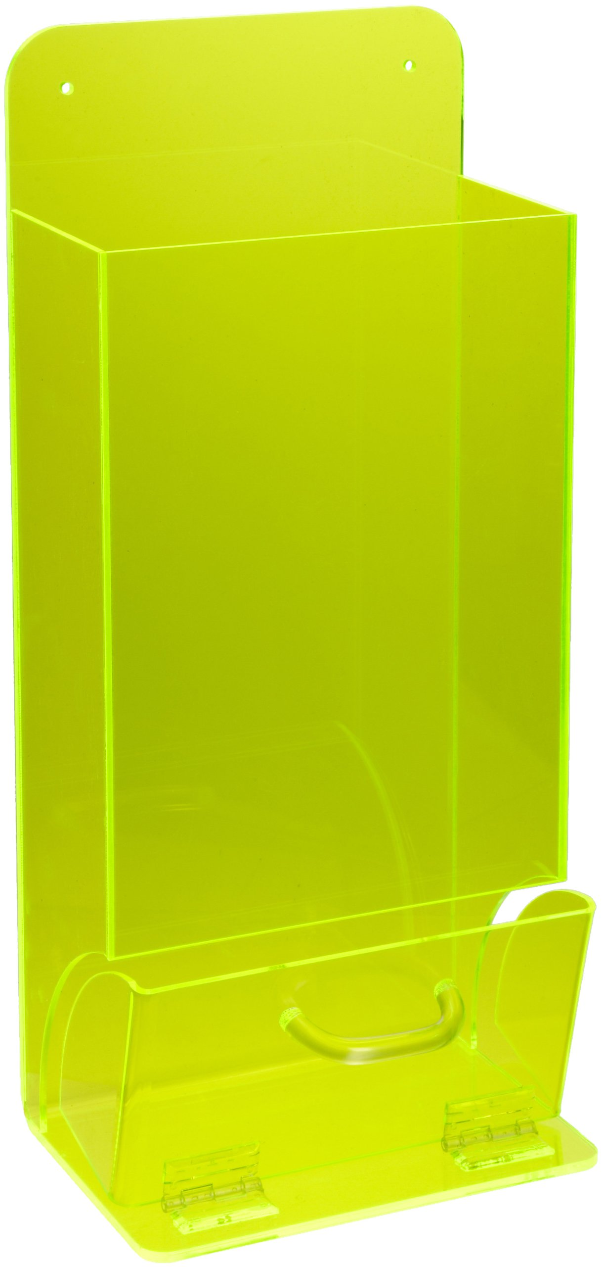 Brady 45667 8'' Width x 18'' Height x 4'' Tough Acrylic, Black on Fluorescent Green Depth Deluxe Visitor Spec Dispenser, Legend ''Safety Glasses''